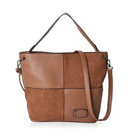 Brown Colour Tote Bag with Detachable Shoulder Strap and External Zipper Pocket (Size 39x30x14.5 Cm)