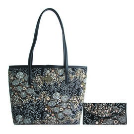 SIGNARE - Tapestry Collection- 2 Piece Set The Kiss College Bag (Size 33x27x15 cms) and Envelope Pur