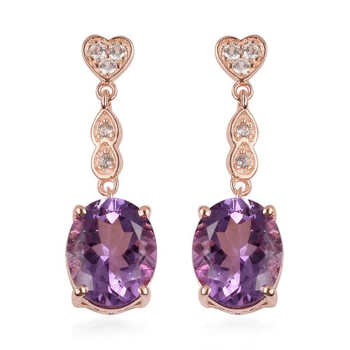 Rose De France Amethyst (Ovl), Natural White Cambodian Zircon Dangling Earrings (with Push Back) in Rose Gold Overlay Sterling Silver 6.550 Ct.