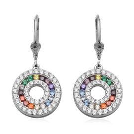 ELANZA Simulated Rainbow Sapphire (Rnd), Simulated Diamond Lever Back Earrings in Rhodium Overlay St