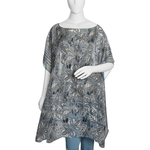 100% Mulberry Silk Grey, Black and White Colour Handscreen Floral and Leaves Printed Kaftan (Free Si