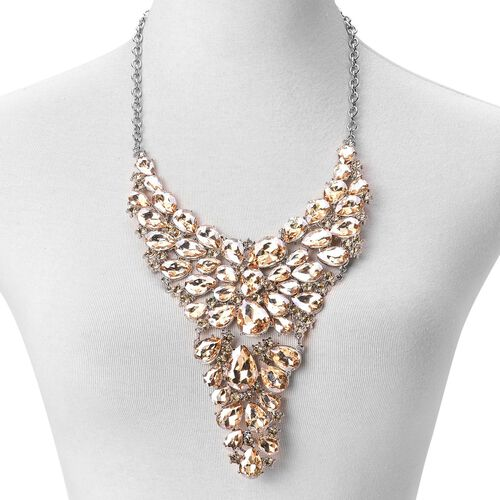 Simulated Champagne Diamond Waterfall Necklace (Size 18 with 1 inch Extender) in Silver Tone