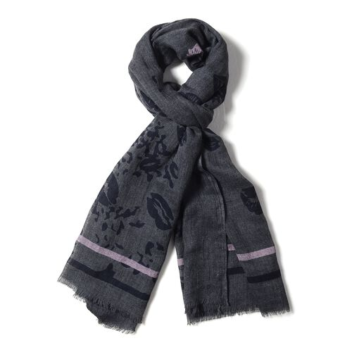 Black and Pink Colour Lip and Stripe Pattern Scarf (Size 200x90 Cm)