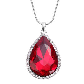 3 Piece Set - Simulated Ruby, White Austrian Crystal Pendant with Chain (Size 24 with 3 inch Extende