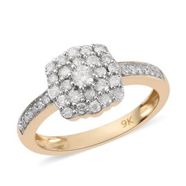 9K Yellow Gold SGL Certified Diamond (I2-I3/G-H) Ring 0.50 Ct.