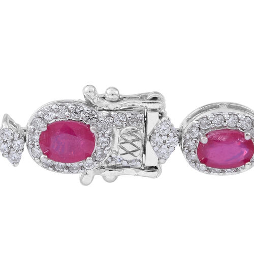 Duchess Inspired African Ruby (Ovl), Natural White Cambodian Zircon Bracelet (Size 7.5) in Rhodium Plated Sterling Silver 17.000 Ct. Silver wt 16.00 Gms. Number of Gemstone 251