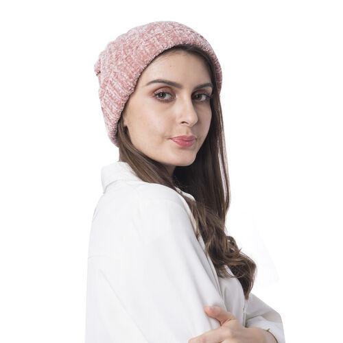 Super Soft Beanie Hat with Faux Fur Pom Pom (One size: 50x31cm) - Pink