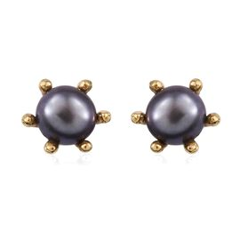 Fresh Water Peacock Pearl (1.50 Ct) 14K Gold Overlay Sterling Silver Earring  1.500  Ct.