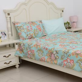 4 Piece Set - Mint and Multi Colour Floral Pattern Single Duvet Cover (Size 135x200 Cm), 2 Pillow Ca