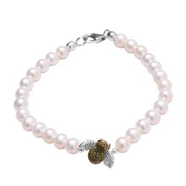 Green Diamond (Rnd), Freshwater Pearl Bumble Bee Bracelet (Size 7.5) in Platinum, Gold and Green Ove