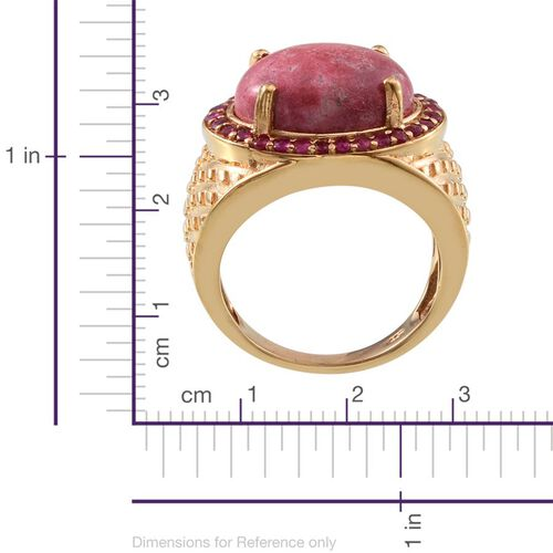 Norwegian Thulite (Ovl 10.50 Ct), Burmese Ruby Ring in 14K Gold Overlay Sterling Silver 11.250 Ct.