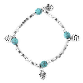 Blue Howlite (Rnd) Stretchable Beads Bracelet (Size 7) with Heart Charms in Antique Silver Plated 15