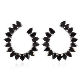 Elite Shungite (Pear) Earrings (with Push Back) in Platinum Overlay Sterling Silver 7.75 Ct, Silver