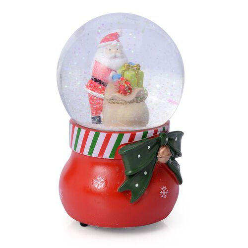 Home Decor - Santa with Gifts Glitter Musical Globe with Red Poinsettia and White Snowflake Base