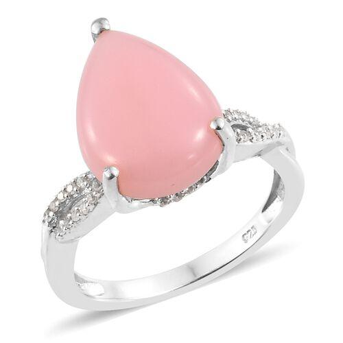 Peruvian Pink Opal (Pear 5.35 Ct), Natural Cambodian Zircon Ring in Platinum Overlay Sterling Silver 5.750 Ct.