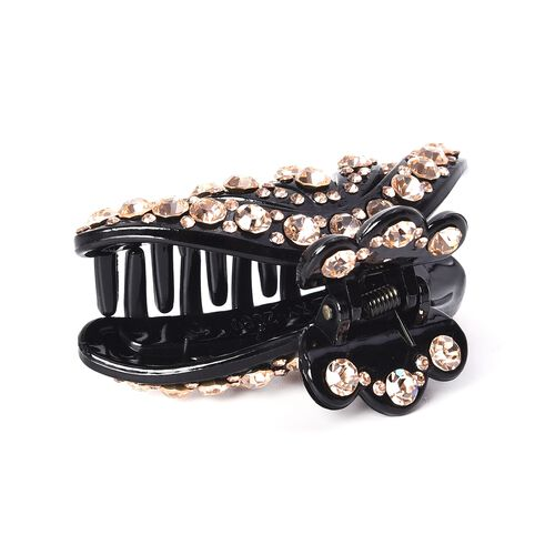Crystal Studded Hair Claw Clip - Champagne