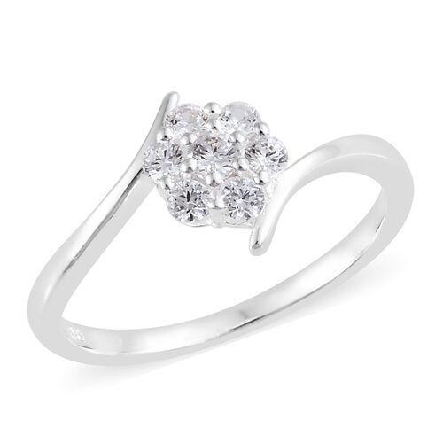 J Francis - Sterling Silver (Rnd) Flower Ring Made with SWAROVSKI ZIRCONIA