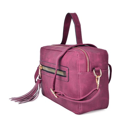 Fuchsia Colour Crossbody Bag with Adjustable and Removable Shoulder Strap and Tassel Charm (Size 28.5X19X11 Cm)