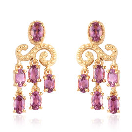 Lotus Garnet Chandelier Earrings (with Push Back) in 14K Gold Overlay Sterling Silver 3.50 Ct.