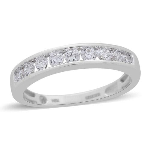 9K White Gold Diamond (Rnd) Half Eternity Ring 0.500 Ct.