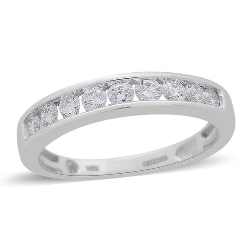 ILIANA 18K White Gold IGI Certified Diamond (Rnd) (SI/G-H) Half Eternity Ring  0.500 Ct.