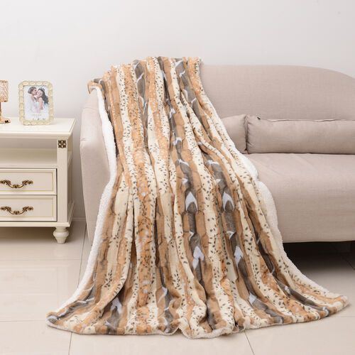 Deluxe Collection - High Quality Printed and Brushed Animal Print Faux Fur Sherpa Blanket (190x140 cm)
