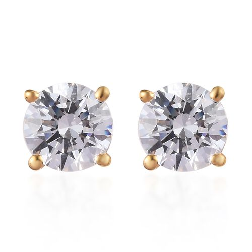 J Francis - 14K Gold Overlay Sterling Silver Stud Earrings (with Push Back) Made with SWAROVSKI ZIRC