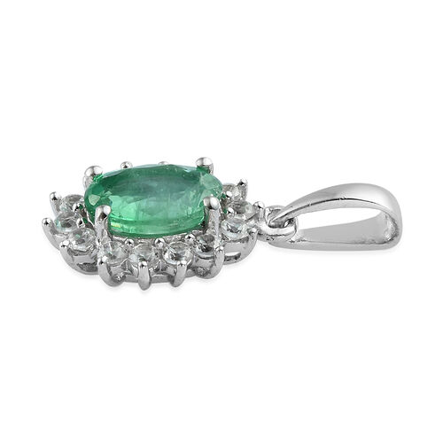 Brazilian Premium Emerald and Natural Cambodian Zircon Pendant in Platinum Overlay Sterling Silver 1.025 Ct.