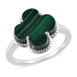 Designer Inspired- Malachite Solitaire Ring in Sterling Silver