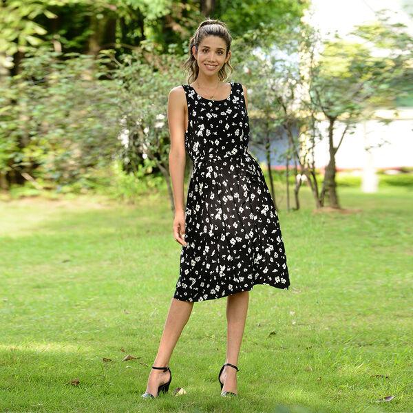 LA MAREY Viscose Floral Pattern Sleeveless Dress (Size S / 100x49Cm) - Black and White