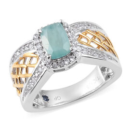 GP 1.25 Ct Grandidierite and Multi Gemstone Classic Ring in Platinum Plated Silver