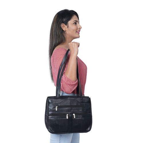 New Arrival - 100% Genuine Leather Shoulder Bag with Multiple Zipped Pockets (Size 32x24x10cm) - Black
