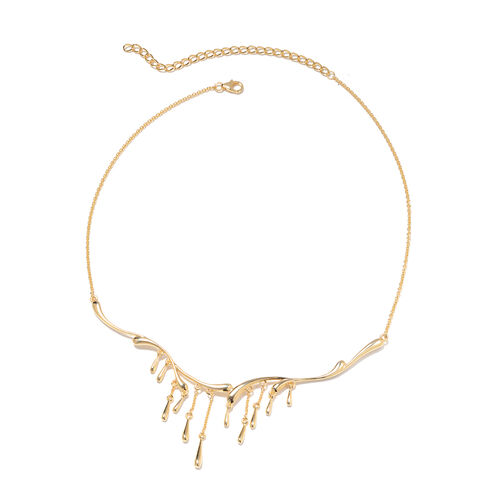LucyQ - Yellow Gold Overlay Sterling Silver Drip Necklace (Size 16 with 4 inch Extender), Silver wt 17.33 Gms