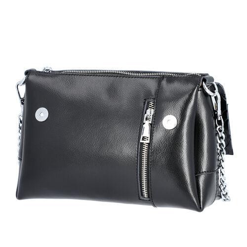 100% Genuine Leather Multiple Pocket Rose Pattern Flap Bag with Detachable Shoulder Strap (Size 25x9x18 Cm) - Black