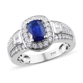 1.75 Ct Blue Spinel and Cambodian Zircon Halo Ring in Sterling Silver 4.55 Grams