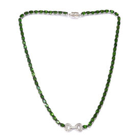 32.50 Ct Russian Diopside Natural Cambodian Zircon Tennis Necklace Size 18 in Plated Silver