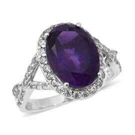 6.05 Ct Zambian Amethyst and Zircon Halo Ring in Rhodium Plated Sterling Silver
