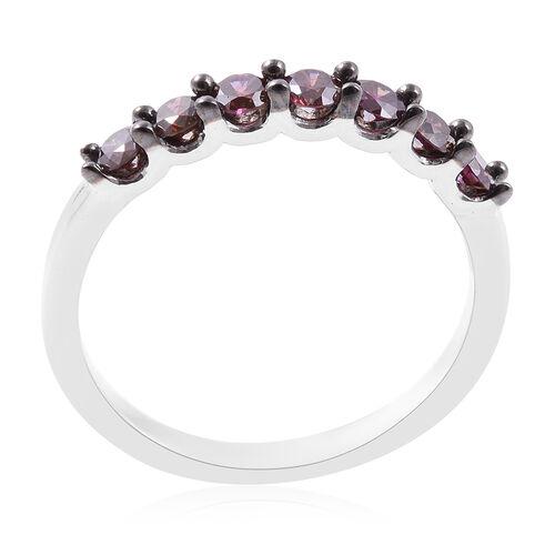 9K White Gold Purple Diamond (Rnd) Seven Stone Ring 0.500 Ct.