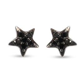 Black Diamond (Rnd) Star Stud Earrings (with Push Back) in Platinum and Black Overlay Sterling Silve