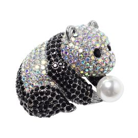 Simulated Pearl (Rnd), Black and Mystic White Austrian Crystal Panda Brooch or Pendant With Chain (S