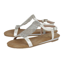 Lotus Avelina Open-Toe Flat Sandals in Silver Colour