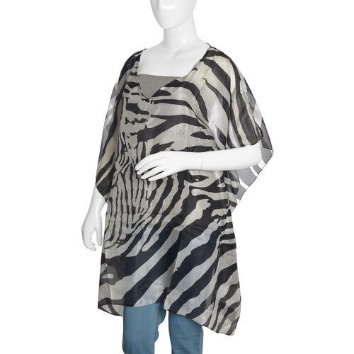 100% Mulberry Silk Black and White Colour Zebra Printed Kaftan (Free Size)