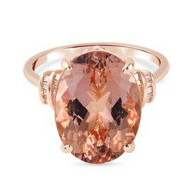 Monster Deal- 9K Rose Gold Marropino Morganite and Diamond Ring 12.09 Ct.