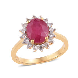 African Ruby (Ovl), Natural Cambodian Zircon Ring in 14K Gold Overlay Sterling Silver 3.000 Ct.