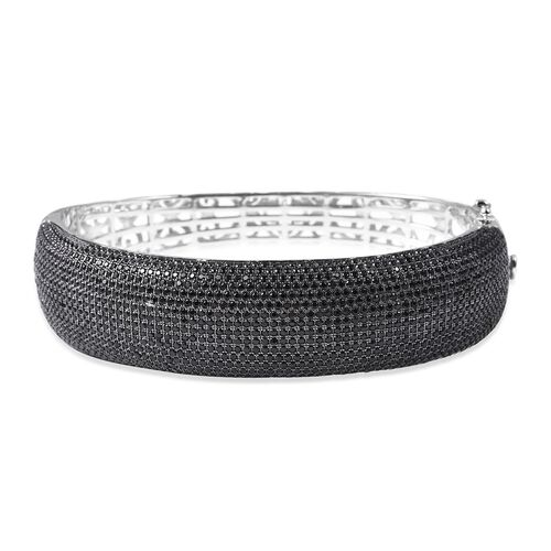 Red Carpet Collection-Natural Boi Ploi Black Spinel (Rnd) Bangle (Size 7.5) in Black Rhodium Overlay