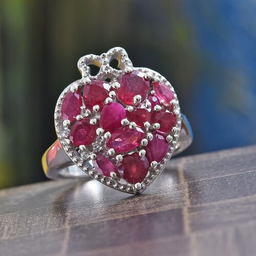 GP African Ruby, Natural Cambodian Zircon and Blue Sapphire Heart Ring in Platinum Overlay Sterling Silver 3.00 Ct, Silver wt 5.18 Gms