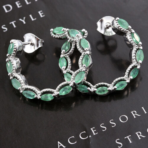 Kagem Zambian Emerald (Mrq) Earrings (with Push Back) in Platinum Overlay Sterling Silver 1.500 Ct.
