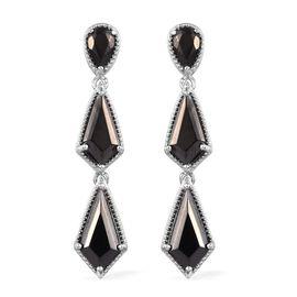 7 Carat Elite Shungite Dangle Earring in Platinum Plated Sterling Silver 8.33 Grams