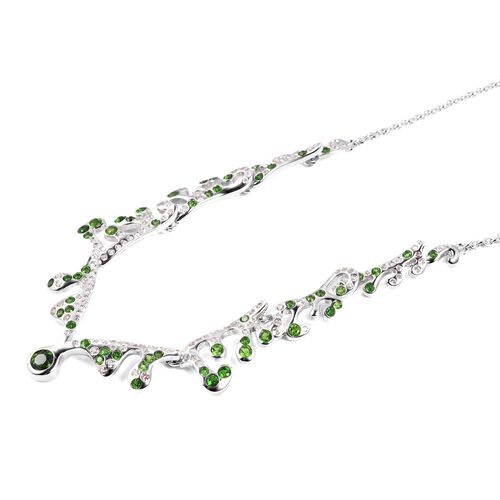 LucyQ Russian Diopside (Rnd), Natural White Cambodian Zircon Necklace (Size 16 with 3.5 inch Extender) in Rhodium Overlay Sterling Silver 3.020 Ct, Silver wt 12.42 Gms