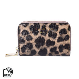 Sencillez 100% Genuine Leather RFID Protected Leopard Pattern 11 Slots Card Holder Wallet (Size 12x2